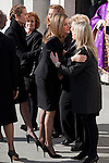 Princess Letizia of Spain greets Terrorism Victims Association representatives while attend the 11M March 11, 2004 terrorist attempt remember mass at Almudena Cathedral in Madrid, Spain. March 11, 2014. (ALTERPHOTOS/Victor Blanco)