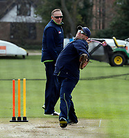 Matt Walker and Allan Donald take a training session during the friendly game between Kent CCC and Surrey at the St Lawrence Ground, Canterbury, on Friday Apr 6, 2018