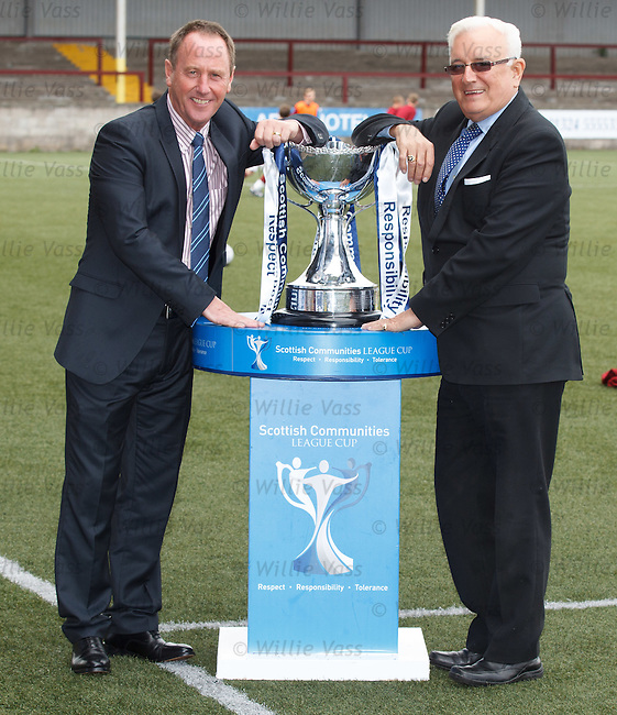 Jim Sinclair of Rangers and Sid Collumbine of East Fife look ahead to the Scottish league Cup tie at Ibrox