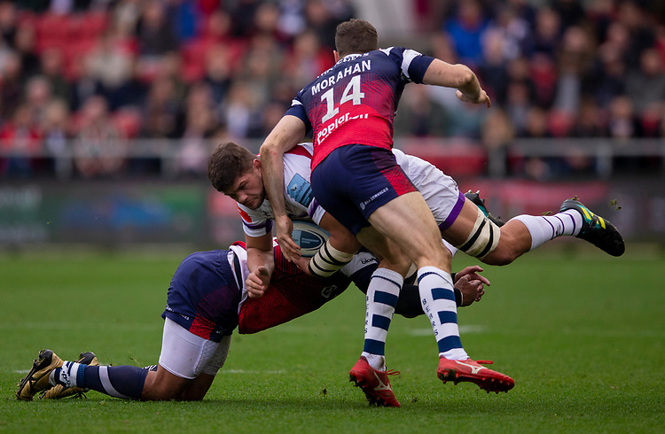 Leicester Tigers' Mike Williams in action during todays match<br /> <br /> Photographer Bob Bradford/CameraSport<br /> <br /> Gallagher Premiership - Bristol Bears v Leicester Tigers - Saturday 1st December 2018 - Ashton Gate - Bristol<br /> <br /> World Copyright © 2018 CameraSport. All rights reserved. 43 Linden Ave. Countesthorpe. Leicester. England. LE8 5PG - Tel: +44 (0) 116 277 4147 - admin@camerasport.com - www.camerasport.com
