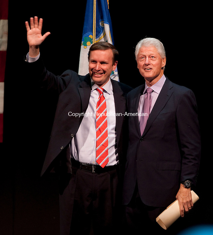 WATERBURY, CT-28 OCTOBER 2012--102812JS12--Senate candidate Chris Murphy and former president Bill Clinton are introduced to the thousands who filled the Palace Theater in Waterbury on Sunday for a rally for Murphy. .Jim Shannon Republican-American
