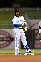 AFL West third baseman Vladimir Guerrero Jr. (27), of the Surprise Saguaros and Toronto Blue Jays organization, stands on second base after hitting a ninth-inning double during the Arizona Fall League Fall Stars game at Surprise Stadium on November 3, 2018 in Surprise, Arizona. The AFL West defeated the AFL East 7-6 . (Zachary Lucy/Four Seam Images)
