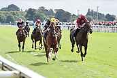 24th August 2018, York Races, Yorkshire, England;  Stradivarius with Frankie Dettori up wins the Lonsdale Cup Stakes. York racecourse.
