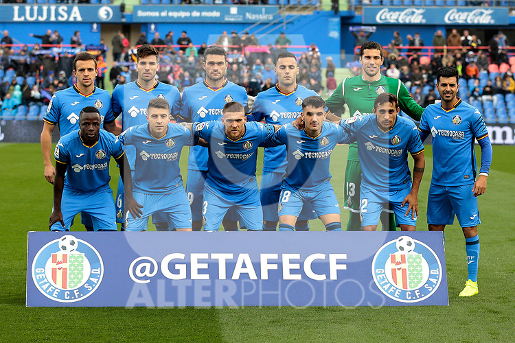 Getafe CF's team photo with David Soria, Vitorino Antunes, Bruno Gonzalez, Leandro Cabrera, Francisco Portillo, Angel Rodriguez, Amath Ndiaye, Mauro Arambarri, Jorge Molina, Nemanja Maksimovic and Damian Suarez during La Liga match between Getafe CF and Valencia CF at Coliseum Alfonso Perez in Getafe, Spain. November 10, 2018.