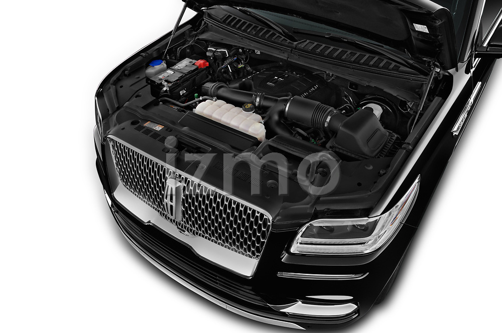 Car stock 2019 Lincoln Navigator Select L Extended 4x2 5 Door SUV engine high angle detail view