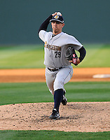 Pitcher Charlie Short (29) of the Charleston RiverDogs in a game against the Greenville Drive on Saturday, April 6, 2013, at Fluor Field at the West End in Greenville, South Carolina. Charleston won Game 1 of a doubleheader, 6-2. (Tom Priddy/Four Seam Images)