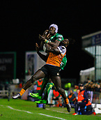4th November 2017, Galway Sportsground, Galway, Ireland; Guinness Pro14 rugby, Connacht versus Cheetahs; Niyi Adeolokunr (Connacht) and Luther Obi (Toyota Cheetahs) contest a high ball
