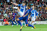 David Lopez Silva (L) of RCD Espanyol fights for the ball with Jose Paulo Bezerra Maciel Junior, Paulinho, (R) of FC Barcelona during the La Liga match between FC Barcelona vs RCD Espanyol at the Camp Nou on 09 September 2017 in Barcelona, Spain. Photo by Vicens Gimenez / Power Sport Images