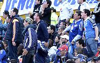 BOGOTA - COLOMBIA -07 -03-2015: Seguidores de Millonarios gritan furiosos durante el encuentro entre Millonarios y La Equidad por la fecha 8 de la Liga Águila I 2015 jugado en el estadio Nemesio Camacho El Campín de la ciudad de Bogotá./ Angry followers of Millonarios yell during the match between Millonarios and La Equidad for the 8th date of the Aguila League I 2015 played at Nemesio Camacho El Campin stadium in Bogotá city. Photo: VizzorImage / Gabriel Aponte / Staff.