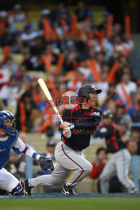 Michihiro Ogasawara of Japan during a game against Korea at the World Baseball Classic at Dodger Stadium on March 23, 2009 in Los Angeles, California. (Larry Goren/Four Seam Images)