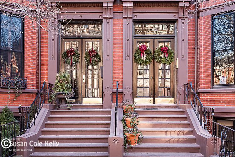 Christmas decorations in the Back Bay neighborhood, Boston, MA, USA