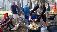 NWA Democrat-Gazette/FLIP PUTTHOFF <br /> Eric Blocker cooks breakfast     April 6 2019   for festival riders and anyone in the camprgound who wanted to eat.