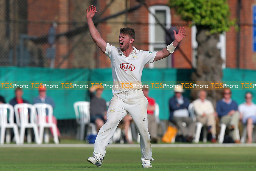Stuart Meaker of Surrey with an appeal for a wicket during Surrey CCC vs Essex CCC, Specsavers County Championship Division 1 Cricket at Guildford CC, The Sports Ground on 10th June 2017