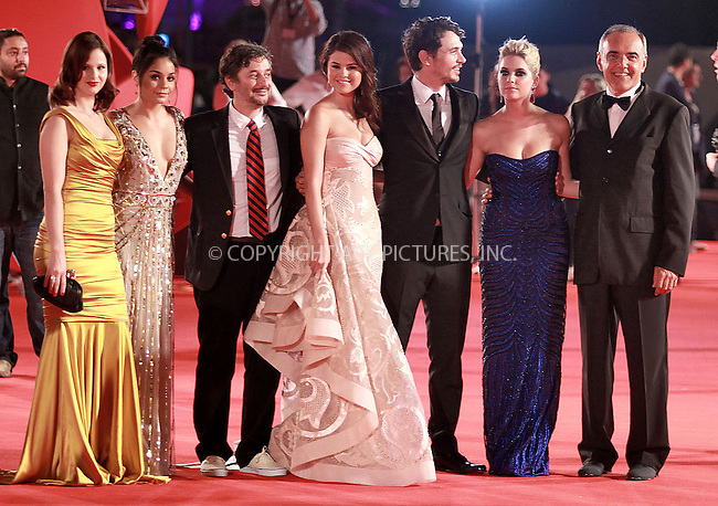 WWW.ACEPIXS.COM....US SALES ONLY....September 5, 2012, Venice, Italy.....Rachel Korine, Vanessa Hudgens, Harmony Korine, Selena Gomez, James Franco and Ashley Benson arriving at the premiere of 'Spring Breakers' on September 5, 2012 in Venice, Italy at the Venice Film Festival.........By Line: Famous/ACE Pictures....ACE Pictures, Inc..Tel: 646 769 0430..Email: info@acepixs.com