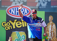 Mar 30, 2014; Las Vegas, NV, USA; NHRA pro stock driver Matt Hartford during the Summitracing.com Nationals at The Strip at Las Vegas Motor Speedway. Mandatory Credit: Mark J. Rebilas-