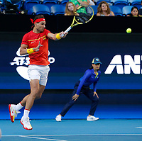 8th January 2020; RAC Arena, Perth, Western Australia; ATP Cup Australia, Perth, Day 6; Spain versus Japan; Rafael Nadal of Spain during the doubles against Japan - Editorial Use