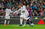 Real Madrid CF's Sergio Ramos, Real Madrid CF's Marcelo Vieira and FC Barcelona's forwar Lionel Messi competes for the ball during La Liga match. Mar 01, 2020. (ALTERPHOTOS/Manu R.B.)