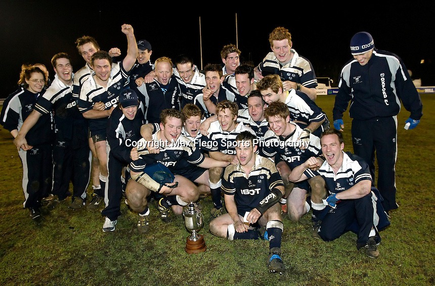Cambridge University / Oxford University..24th PCubed Student Rugby League Varsity Match..Richmond Athletic Ground, March 3, 2004..Pic : Max Flego... The victorious Oxford team celebrate their win..