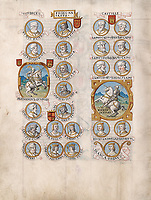 "Folio 27v of the ""Liber Genealogiae Regum Hispaniae"", the Book of the Genealogy of the Kings of Spain, first edition of the 15th century manuscript kept in the National Library of Spain in Madrid, on natural parchment made of animal skin published by Scriptorium SL in Valencia, Spain. © Scriptorium / Manuel Cohen"