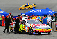 May 31, 2008; Dover, DE, USA; Nascar Sprint Cup Series driver Greg Biffle is pushed through the garage during practice for the Best Buy 400 at the Dover International Speedway. Mandatory Credit: Mark J. Rebilas-US PRESSWIRE