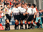 St Johnstone v Rangers 20.9.97:   Marco Negri congratulated by Rangers players after scoring his second goal