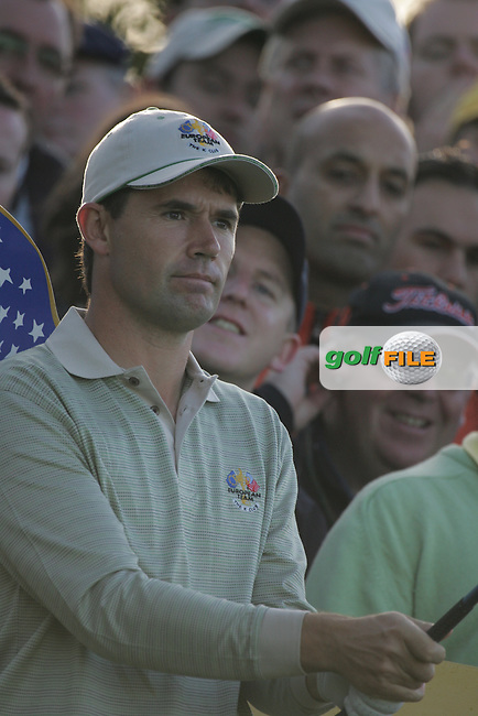 Straffin Co Kildare Ireland. K Club Ruder Cup...European Ryder Cup team member Padraig Harrington teeing off on the 5th tee box during the opening fourball session of the first day of the 2006 Ryder Cup, at the K Club in Straffan, Co Kildare, in the Republic of Ireland, 22 September 2006..Photo: Fran Caffrey/ Newsfile..