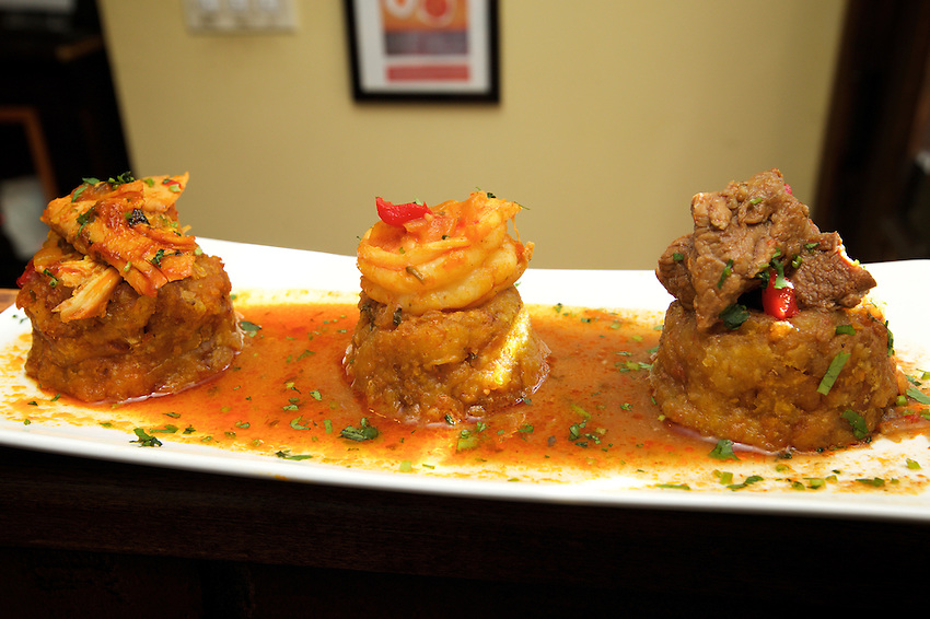 Jersey City, NJ - April 27, 2016: Mofongo sampler at Me Casa, a food truck and eatery serving updated Puerto Rican dishes in Jersey City.<br /> <br /> CREDIT: Clay Williams for Gothamist<br /> <br /> &copy; Clay Williams / claywilliamsphoto.com