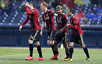 Nashville, TENN. - Saturday February 10, 2018: Julian Gressel, Jeff Larentowicz, Josef Martinez, Kevin Kratz celebrate a goal during a preseason exhibition match between Nashville SC vs Atlanta United FC at First Tennessee Park.