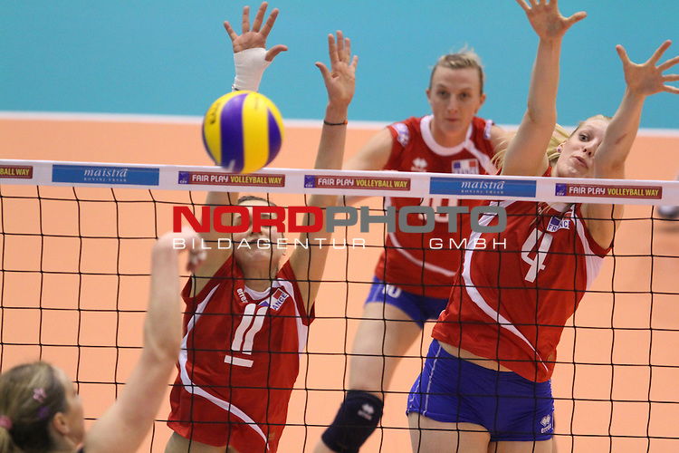 04.01.2014., Gimnasium Hall, Rovinj, Croatia - Qualifier volleyball tournament for the World Cup qualifications, Croatia - France.<br /> <br /> im Bild Armelie Faesch, Christina Bauer<br /> <br /> Foto &not;&copy;  nph / PIXSELL / Nel Pavletic
