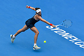 10th January 2018, Sydney Olympic Park Tennis Centre, Sydney, Australia; Sydney International Tennis, round 2; Gabrine Muguruza (ESP) stretches for a return in her match against Kiki Bertens (NED)