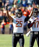 Maryland Terrapins defensive back Dexter McDougle (25) celebrates a play during the game against Virginia in Charlottesville, Va. Maryland defeated Virginia 27-20.