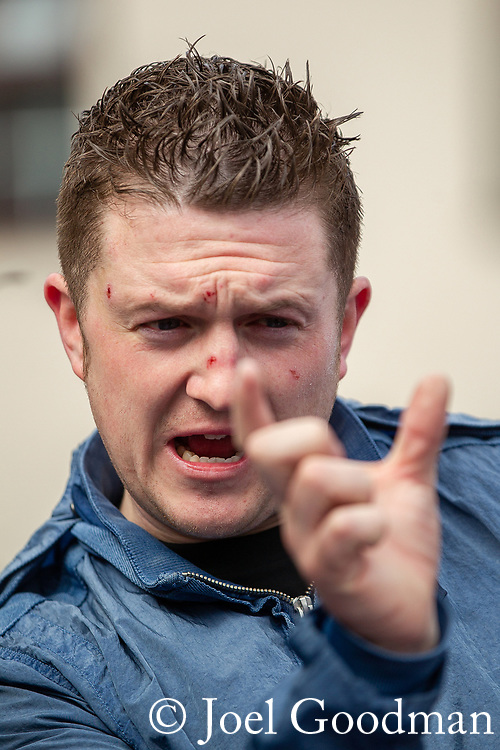© Joel Goodman - 07973 332324 . 05/05/2012 .  Luton , UK . EDL leader TOMMY ROBINSON ( Stephen Yaxley-Lennon ). Approximately 1,500 people take part in an EDL ( English Defence League ) march in Luton , understood to have been policed by over 1,000 officers . Photo credit: Joel Goodman