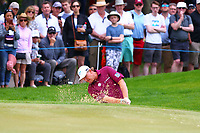 Ernie Els chips out of a bunker on the 5th during the BMW PGA Golf Championship at Wentworth Golf Course, Wentworth Drive, Virginia Water, England on 27 May 2017. Photo by Steve McCarthy/PRiME Media Images.