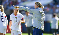CHICAGO, IL - OCTOBER 06: Jill Ellis of the United States points at a player during their game versus Korea Republic at Soldier Field, on October 06, 2019 in Chicago, IL.