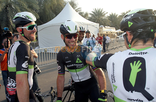 Mark Cavendish (GBR) Team Dimension Data vcelebrates with his team mates after winning Stage 1 Emirates Motor Company Stage of the 2017 Abu Dhabi Tour, running 189km from Madinat Zayed through the desert and back to Madinat Zayed, Abu Dhabi. 23rd February 2017<br /> Picture: ANSA/Matteo Bazzi | Newsfile<br /> <br /> <br /> All photos usage must carry mandatory copyright credit (&copy; Newsfile | ANSA)