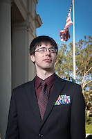 Mark Aaron Hammonds '17 stands near Johnson and Fowler Halls on Sept. 25, 2014. Hammonds served in the military before attending Oxy. (Photo by Marc Campos, Occidental College Photographer)