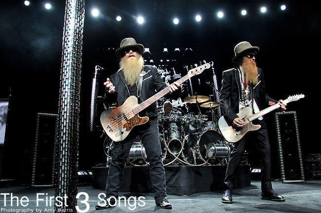 Billy Gibbons and Dusty Hill of ZZ Top perform at the Riverbend Music Center in Cincinnati, Ohio.