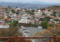Wooden fence overlooking Pachna Village of Cyprus.