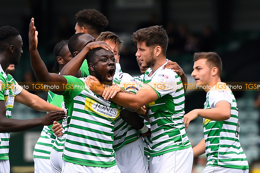 Olufela Olomola of Yeovil Town celebrates after scoring his and Yeovil Town's first goal during Yeovil Town vs Accrington Stanley, Sky Bet EFL League 2 Football at Huish Park on 12th August 2017