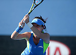 Jie Zheng (CHN) defeats Madison Keys (USA) 7-6, 1-6, 7-5 at the Australian Open in Melbourne, Australia on January 15, 2014