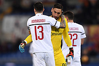 Alessio of AS Romagnoli greets Gianluigi Donnarumma of AC Milan  during the Serie A 2018/2019 football match between AS Roma and AC Milan at stadio Olimpico, Roma, February 3, 2019 <br />  Foto Andrea Staccioli / Insidefoto
