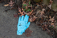 A discarded medical glove is seen on a sidewalk in Belmont, Massachusetts, on Fri., March 20, 2020. There has been a shortage of gloves and facemasks as the United States responds to the growing coronavirus COVID-19 global pandemic.