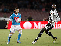 Calcio, Serie A: Napoli vs Juventus. Napoli, stadio San Paolo, 26 settembre 2015. <br /> Napoli&rsquo;s Elseid Hysaj, left, in action past Juventus&rsquo; Paul Pogba during the Italian Serie A football match between Napoli and Juventus at Naple's San Paolo stadium, 26 September 2015.<br /> UPDATE IMAGES PRESS/Isabella Bonotto