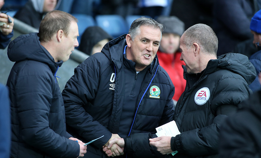 Blackburn Rovers manager Owen Coyle greets the fourth official before kick off<br /> <br /> Photographer David Shipman/CameraSport<br /> <br /> The EFL Sky Bet Championship - Blackburn Rovers v Huddersfield Town - Saturday 3rd December 2016 - Ewood Park - Blackburn<br /> <br /> World Copyright &copy; 2016 CameraSport. All rights reserved. 43 Linden Ave. Countesthorpe. Leicester. England. LE8 5PG - Tel: +44 (0) 116 277 4147 - admin@camerasport.com - www.camerasport.com