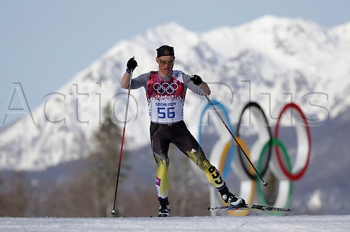 23.02.2014. Sochi, Russia. Erik Lesser of Germany competes in the Men's 50km Mass Start Cross Country Skiing event in Laura Cross-country Ski & Biathlon Center at the Sochi 2014 Olympic Games, Krasnaya Polyana, Russia, 23 February 2014.