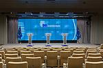 La sala de información de prensa del Consejo de la UE (The Press Briefing) donde los mayores líderes del mundo y europeos han citado y hablado a la prensa internacional durante décadas.Se utiliza para los días de Cumbre de la UE, en el edificio de la sede del Consejo Europeo en Bruselas. PHOTO CREDIT © DELMI ALVAREZ