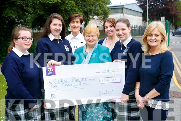 Students from Presentation Secondary School, Tralee, who presented a cheque to Sr. Brid Clifford (Cuan Mhuire, Tralee), on Friday morning last, were l-r: Aine O'Sullivan (head girl, 5th year) Aoife O'Sullivan (head girl, 6th year) Norma Foley (teacher), Sr. Brid Clifford, Sheila O'Connell (teacher), Katie Ahern (head girl, 6th year) and Chrissie Kelly Deputy (deputy principal).