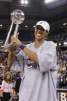 2005: Nicole Powell celebrates winning the WNBA Championships in Sacramento, CA.
