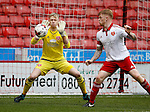 Aaron Ramsdale of Sheffield Utd U21 makes one of many saves during the Professional Development League match at Bramall Lane Stadium, Sheffield. Photo credit should read: Simon Bellis/Sportimage