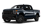 Stock pictures of low aggressive front three quarter view of a 2019 Chevrolet Silverado 1500 Custom Trail Boss 4 Door Pick Up